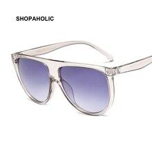 Flat Top Mirrored Sunglasses Women Brand