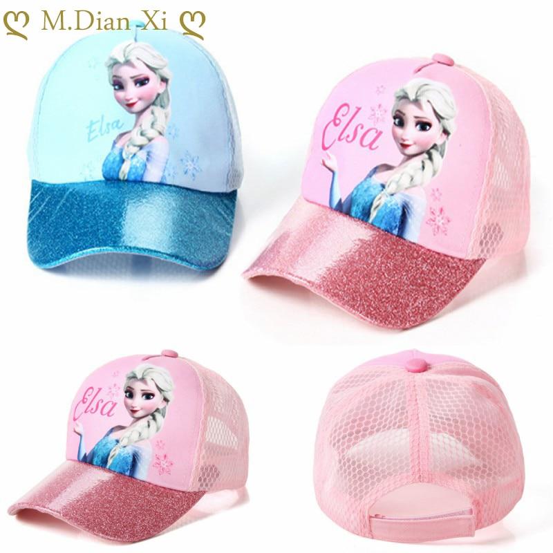 Sombrero con estampado de Frozen y Elsa para bebé, gorras de béisbol de algodón con estampado de Frozen, Snapback, gorros de Hip Hop para niño y niña