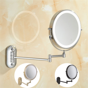 8 inch Bedroom or Bathroom Wall Mounted Makeup Mirror, 1X &10X Magnifying Double  Mirror, Touch Button Adjustable LED Light bath mirror led cosmetic mirror 1x 3x magnification wall mounted adjustable makeup mirror dual arm extend 2 face bathroom mirror
