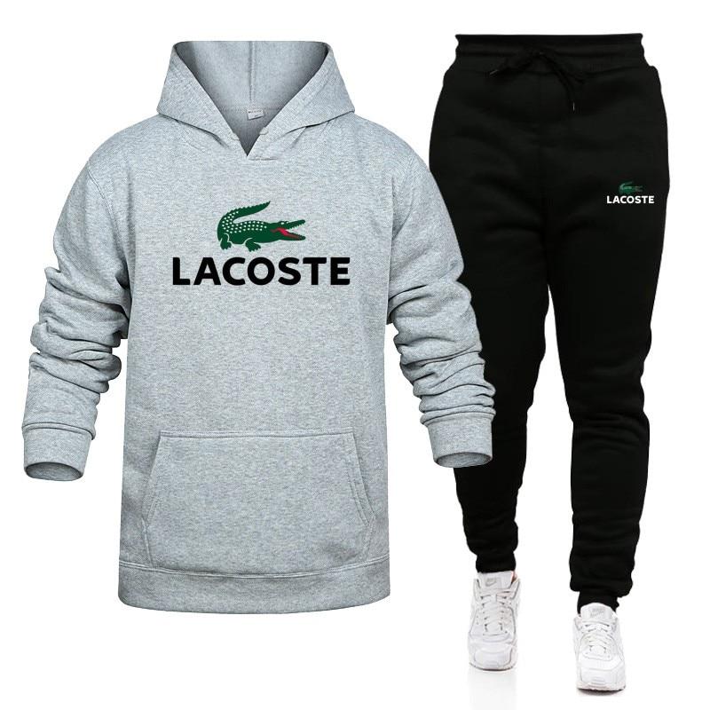 Lacoste- New Fashion Men Set Hoodies+Pants Sets Male Tracksuit Men's Casual Slim Fit Sportswear Male Brand Sweat Shirts Clothing