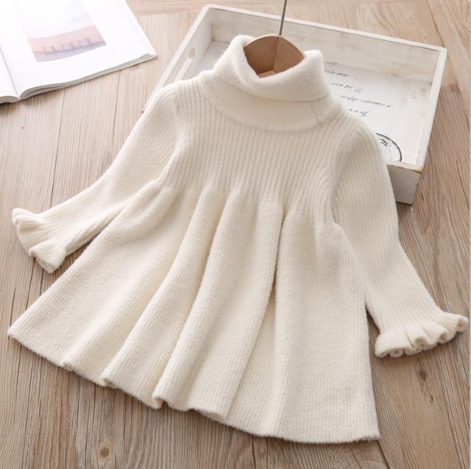 New Baby Girls Dress knitted Long-Sleeve Princess Sweater Kids Winter Clothes Newborn Dresses For Infant Girl Knitwear Toddler