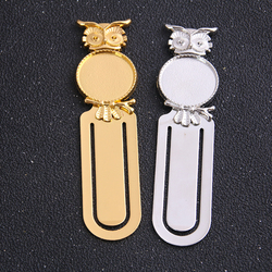 1pcs 20mm Inner Size Two Color Vintage Owl Style Handmade Bookmark Cabochon Base Cameo Setting 23*87mm