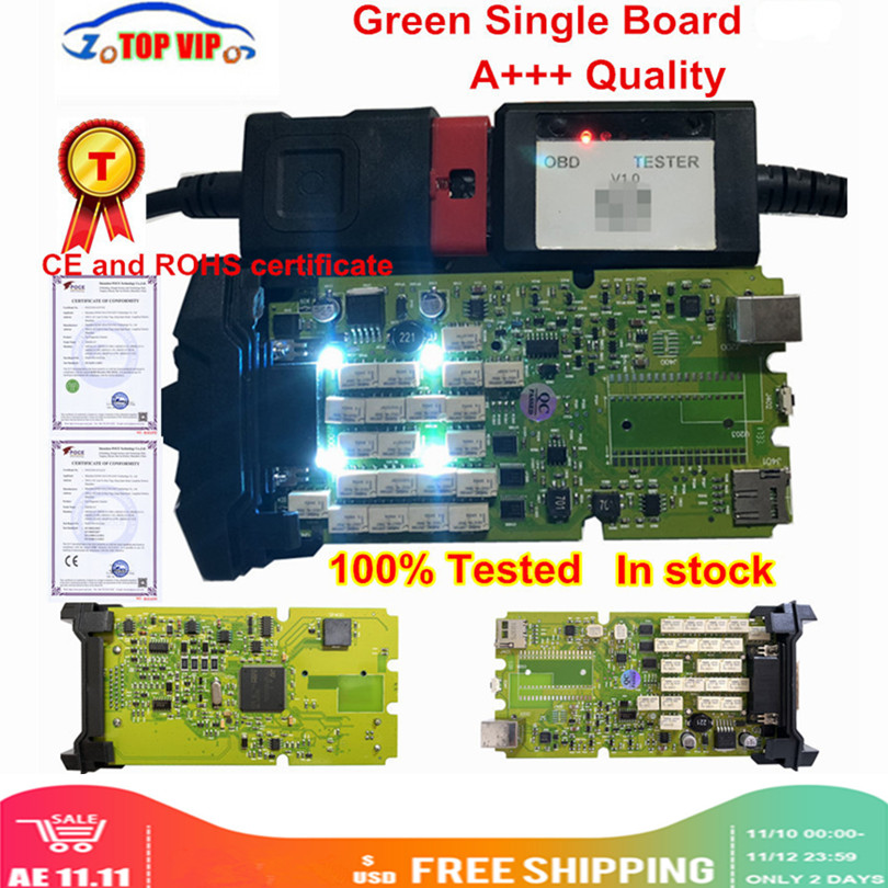 Best Quality 2016.1 With Keygen OBDIICAT-CDP Single Green Board TCS Scanner With Bluetooth Diagnostic Scanner For Cars&Trucks