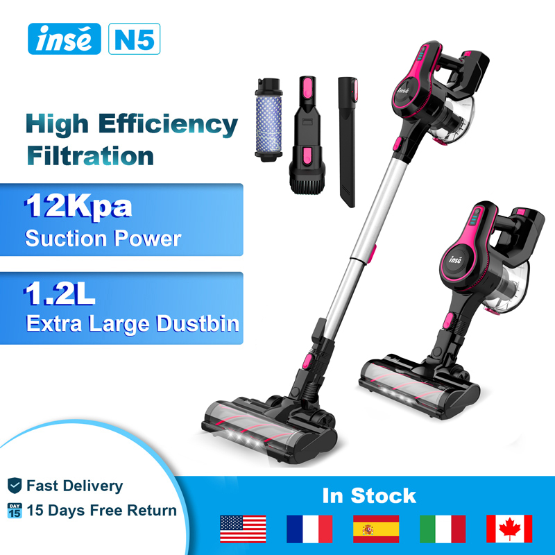 INSE Handheld Wireless Vacuum Cleaner 12000Pa Powerful Suction 40mins Runtime Cordless Stick Aspirator for Home