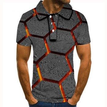 polo 2020 new polo shirt men Casual male polo shirt Short Sleeve Flame Diamond 3D print tops homme polo shirt polo t shirt for men