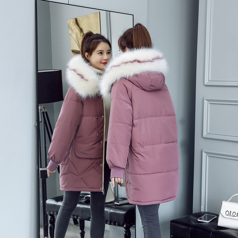 Winter Down cotton color Fur collar Hooded Jacket Women Coat Korean Loose Warm Thick Jackets   Parka   Casual Female Long Outerwear