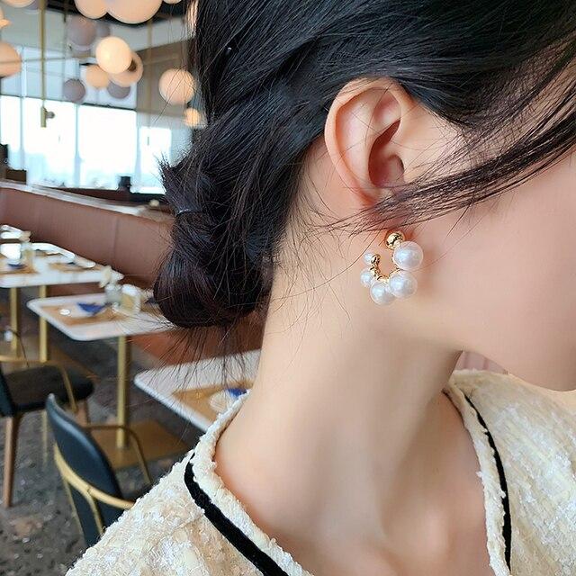 Elegant Celebrity Metal Inlaid Pearl Earrings For Woman Fashion Jewelry 2020 New Luxury Wedding Party Girl's Unusual Earrings 4
