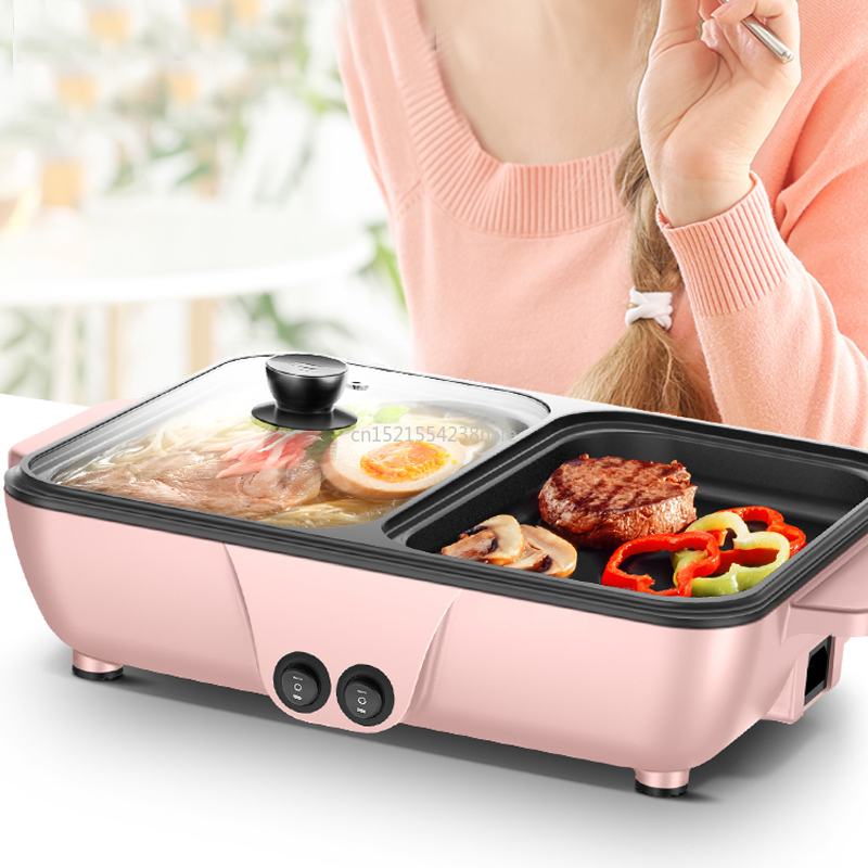 220V Hot Pot Electric Grill Multi-function Roasting and Frying Pan Smokeless Baking Pan Dual-use Barbecue Machine 2 Gears image