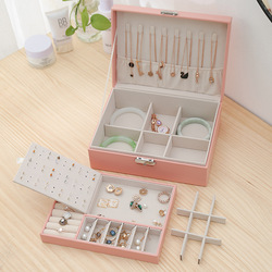 2020 New Double-Layer Velvet Jewelry Box European Jewelry Storage Box Large Space Jewelry Holder Gift Box