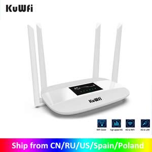 Kuwfi Router Antennas Sim-Card-Slot 300mbps Indoor 4G LTE Wireless with Unlocked Lan-Port