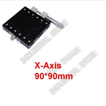 X Axis 90*90mm Manual Displacement Trimming Platform Cross Roller Guide Way Linear Stage Sliding Table High precision LX90-R