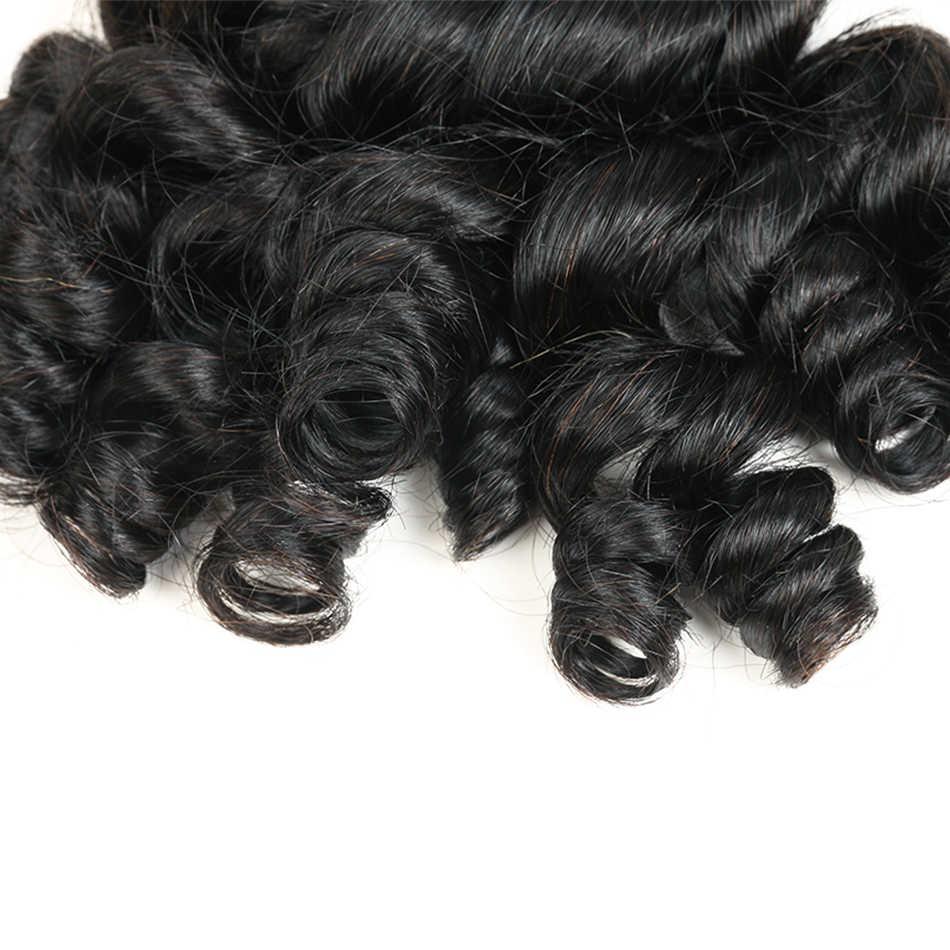 Bouncy Curly Hair 3/4 Bundles Brazilian Hair Funmi Curl Human Hair Extensions 8-30 Inch #1B Natural Color MIHAIR Remy Hair Weave