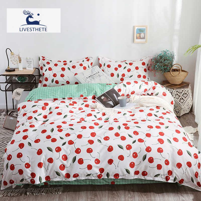 Juego de sábanas live-esthete con estampado de cerezas, Textiles para el hogar, funda nórdica, Sábana plana, doble capa decorativa, colcha de adulto, funda de cama