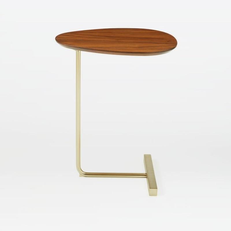 Creative Minimalist Oval Tea Table Move Solid Wood Iron Sofa Corner A Few Lazy Bedside Reading Table