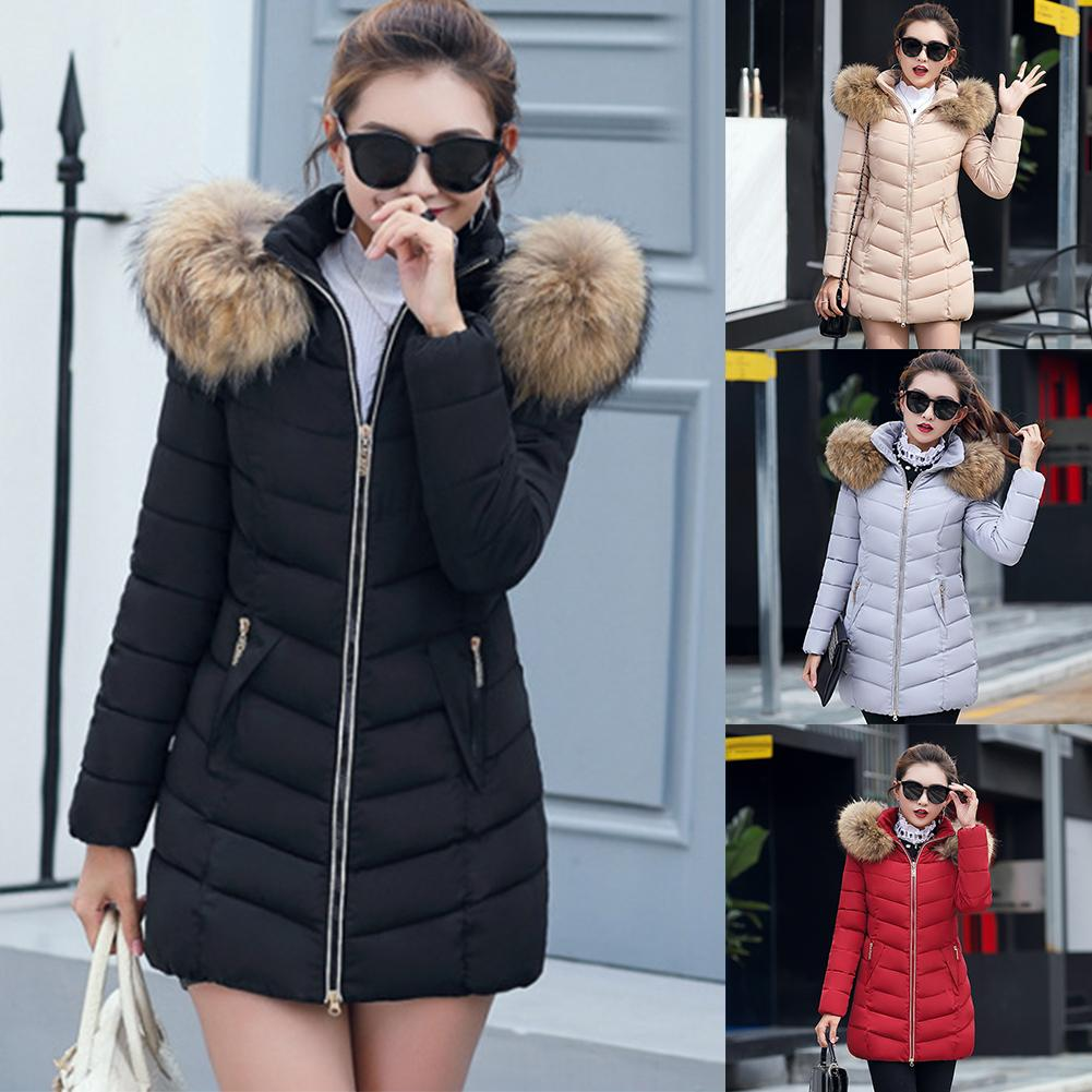2019 winter long coat women coat quilted female fur hooded   parka   outdoor snow jacket basic jacket coat