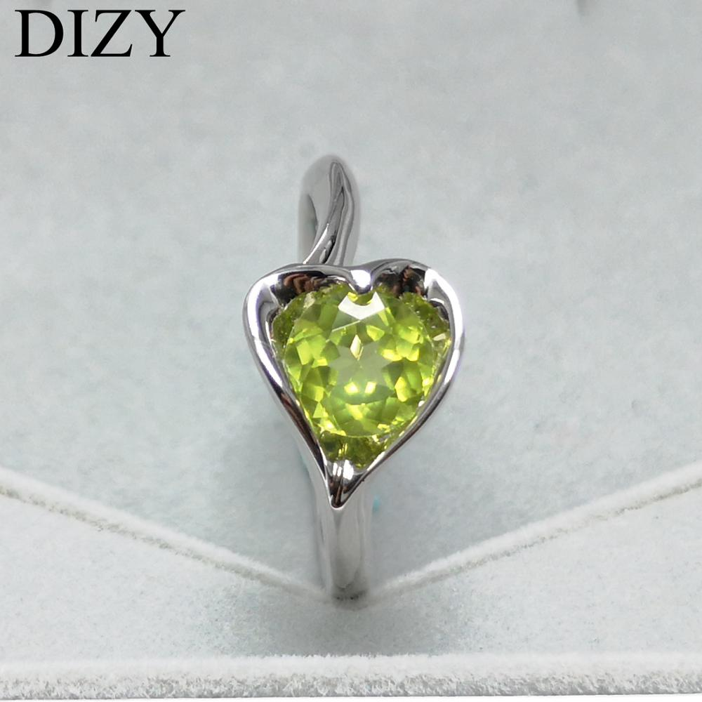 DIZY Natural 1.0CT Round Peridot Ring 925 Sterling Silver Gemstone Ring for Women Romantic Gift fine Engagement Jewelry