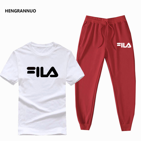 Summer Men Sets T- Shirts+pants Two Pieces Sets Casual Tracksuit Male T-shirt Gyms Fitness  Jogging trouser sports men sets 2019 Karachi