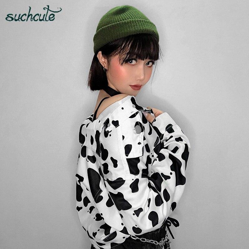 SUCHCUTE Female Jacket Cow Print Coats For Women Korean Style Modis Longslive Casual Autumn 2019 Button Harajuku Streetwear Coat
