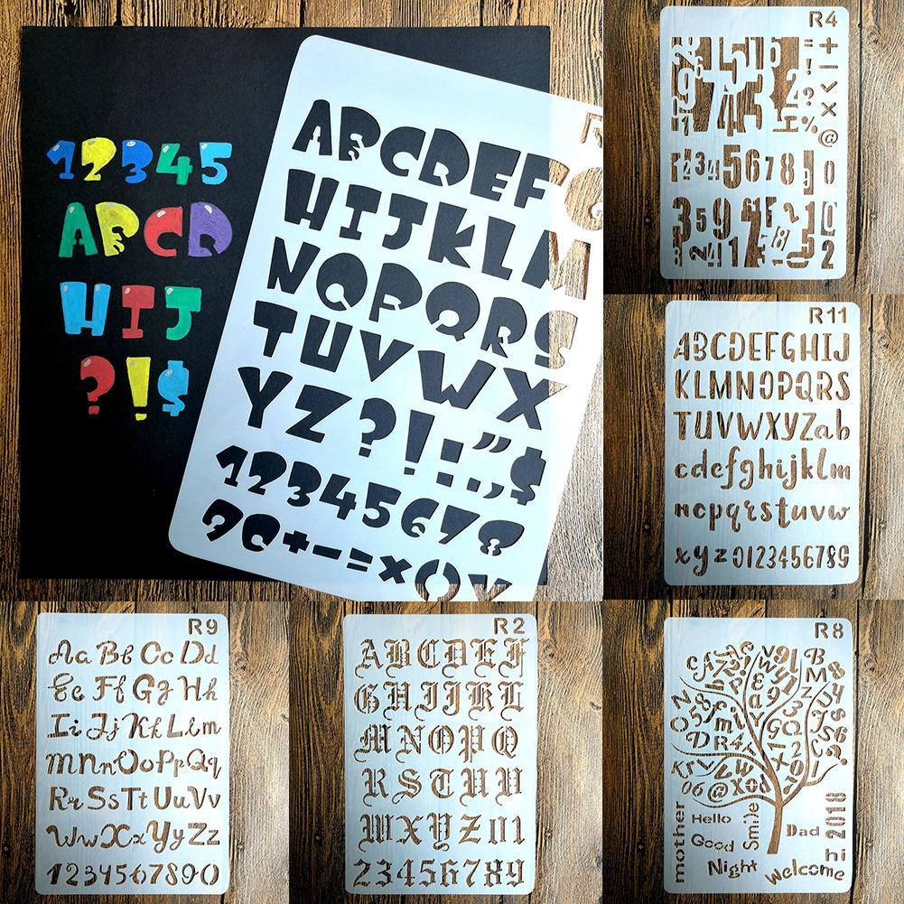 New Letter Numbers DIY Craft Walls Painting Decorative Stencil Embossing Template