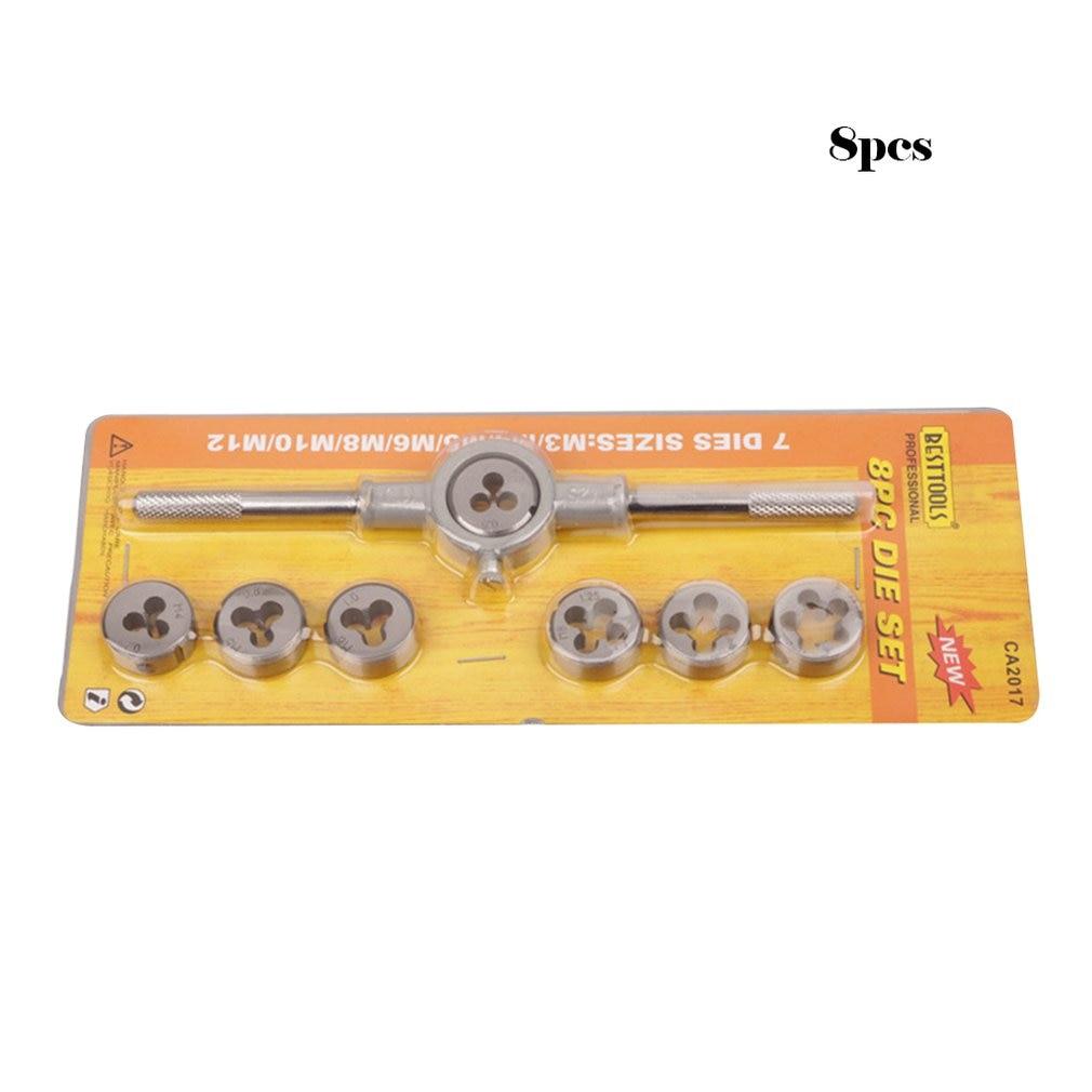 8pcs/set Metric Hss Circular Tap Die Set M3 M4 M5 M6 M8 M10 M12 Screw Thread Plugs Taps With Wrench Broaching Hand Tools Set