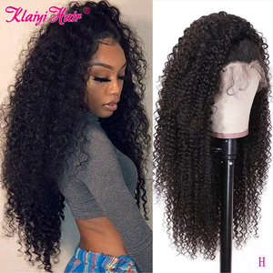 Image 1 - Klaiyi Hair Curly Hair Lace Front Wigs 13*6 Inch Brazilian Remy Hair With Pre Plucked 150% Denisty Human Hair Wig 10 24