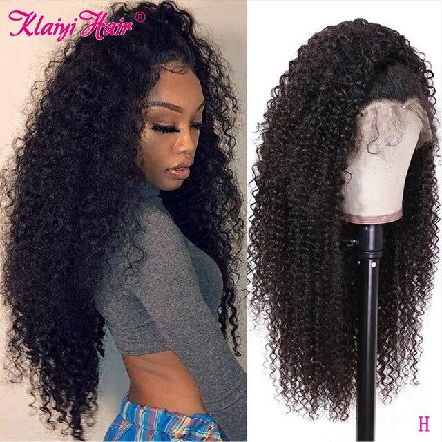 Klaiyi saç kıvırcık saç dantel ön peruk 13*6 inç brezilyalı Remy saç ön 150% yoğunluk insan saçı peruk 10  24