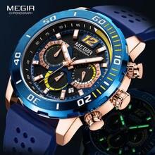 Спортивные часы megir для мужчин Роскошные Кварцевые с хронографом