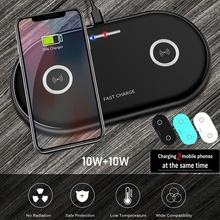 2 in 1 Dual QI Fast Wireless Charger For iphone 11 XS MAX X 8 20W 10W fast Charging Pad for Samsung S10 S9