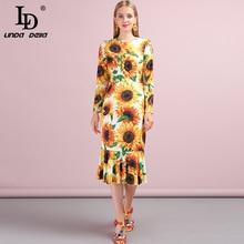LD LINDA DELLA Fashion Runway Autumn Dress Womens Long Sleeve Casual Yellow Sunflower Print Mermaid Ruffles Elegant Midi