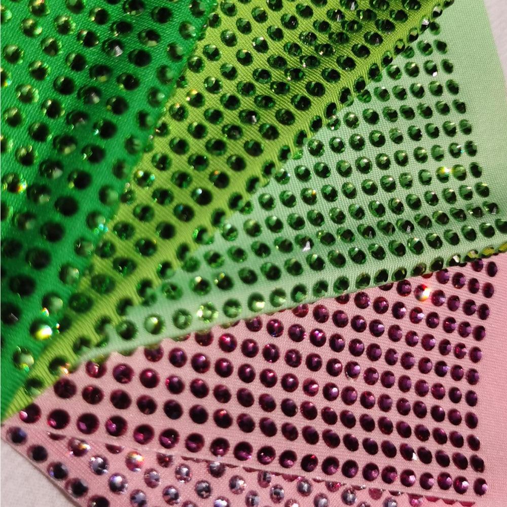 Hot Fix High Quality Rose Pink Crystal Rhinestone Polyester Spandex Elastic Stretch Fabric Golden Milk Silk