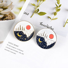 Day และ Night Enamel Pin Sun Moon Starry night ธรรมชาติ Mountain Forest(China)