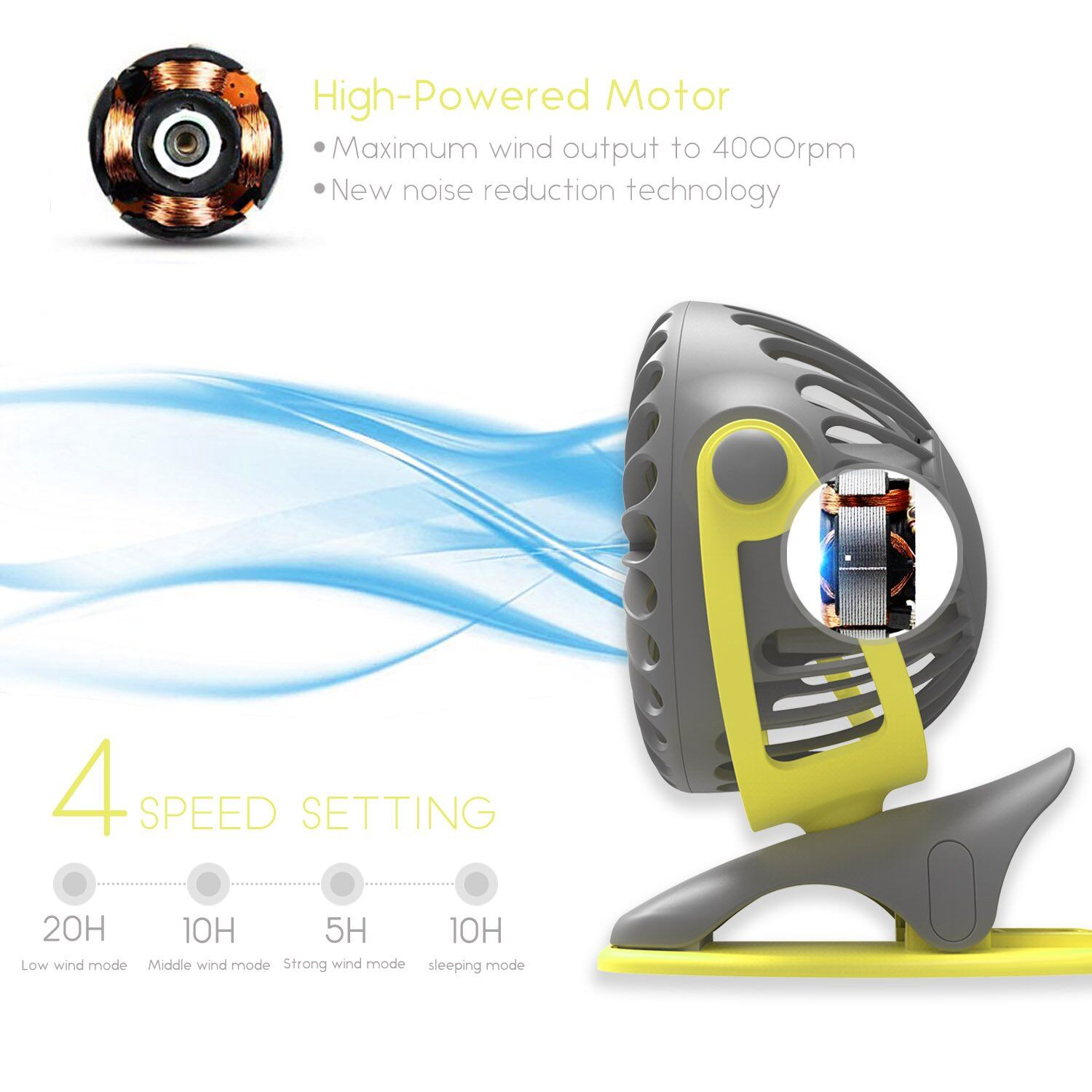 AIR TREE A 4000mAh Portable Cooling Mini USB Fan 4 Speeds 360 Degree All round Rotation Rechargeable Air USBFan Charging Desktop in Hooks Rails from Home Garden