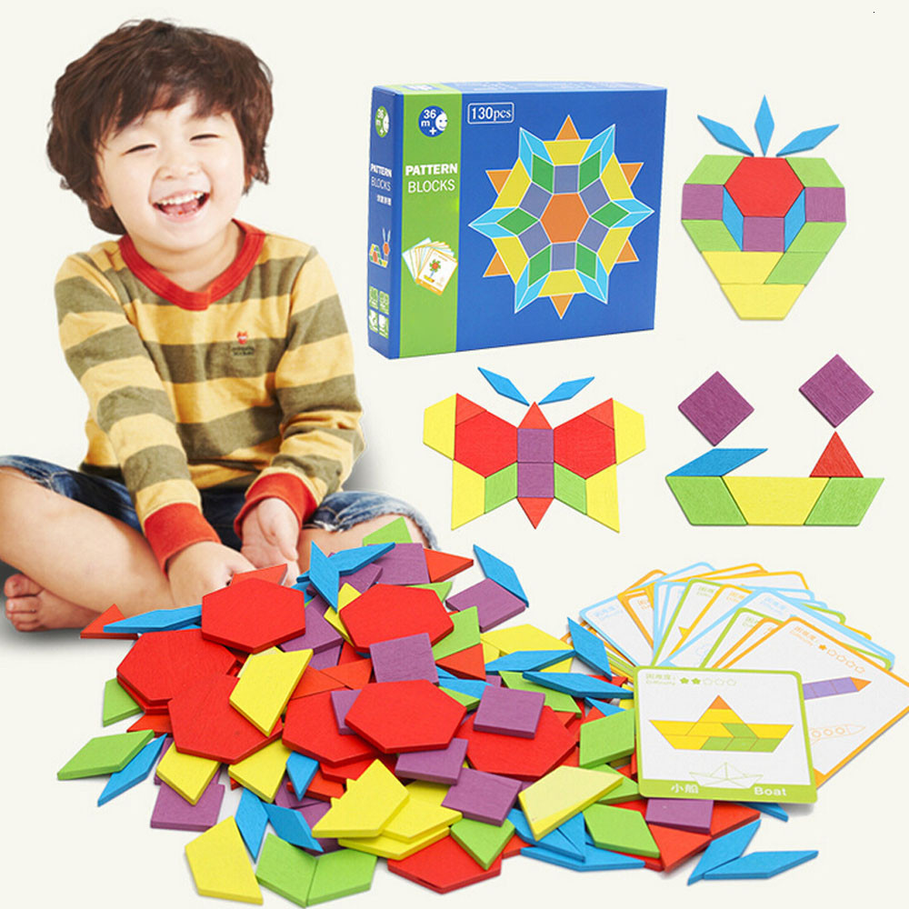 130 Pcs Wooden Geometric Shape Pattern Blocks Puzzle Box Toys Challenge IQ Kids Creative
