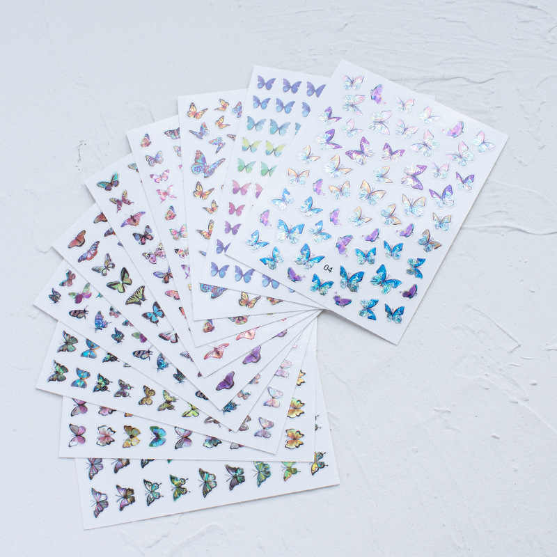 3D Vlinder Stickers Nails Stickers Voor Nagels Diy Manicure Slider Nail Art Tips Decoraties Sticker Water Transfer Decals
