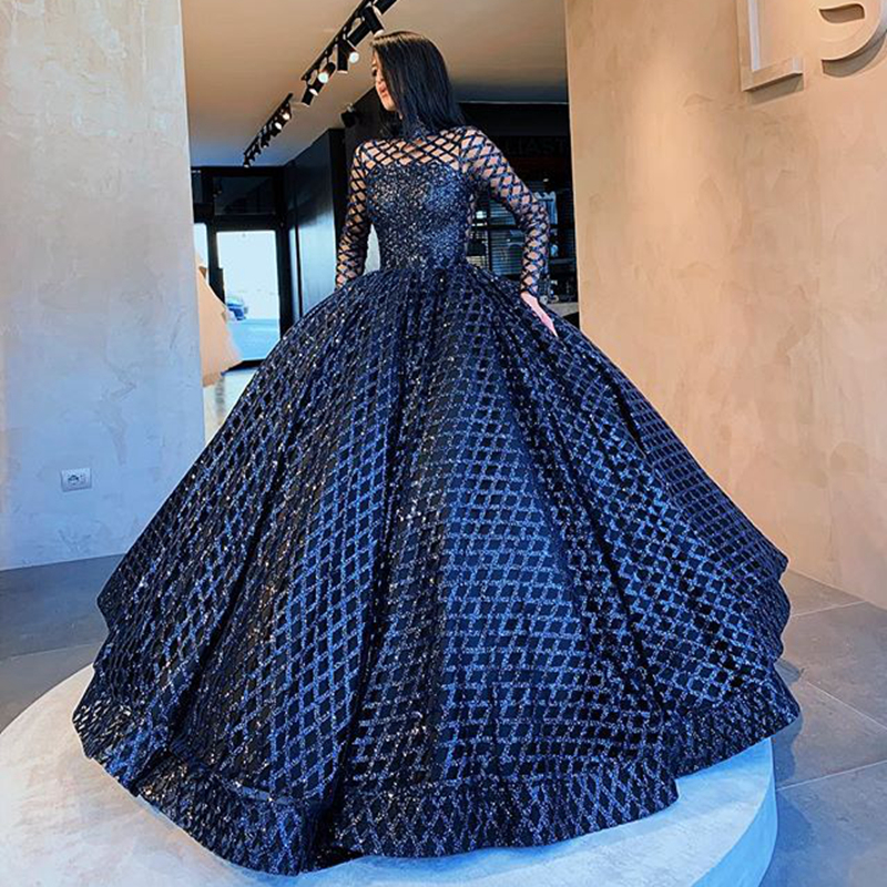 Real Picture Long Sleeve Women Eveniing Dresses 2020 High Neck Puffy Ball Gown Black Glitter Formal Evening Gowns