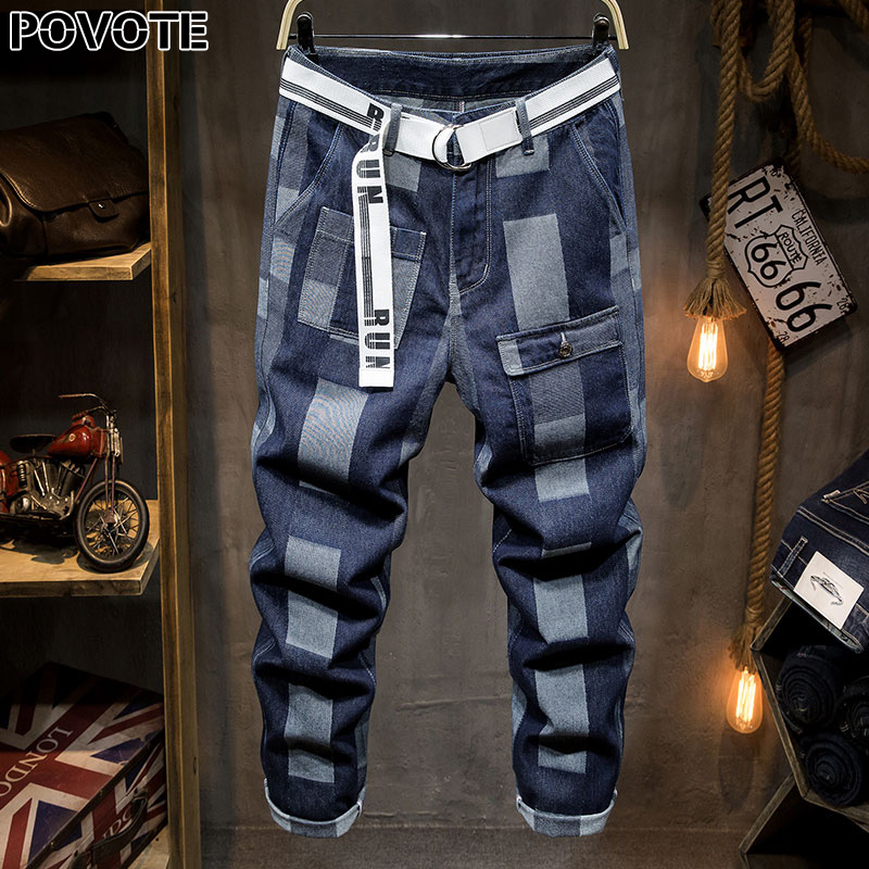 POVOTE 2020 New Jeans With Holes Men's Slim Elastic Retro Leggings Popular European And American White Stripe Jeans