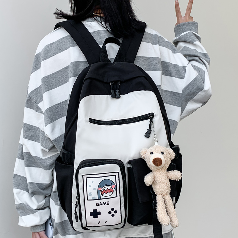 DIFA multi-pocket Waterproof nylon Women Backpack Female Contrast color Insert buckle Girl's schoolbag Cartoon printing Backpack