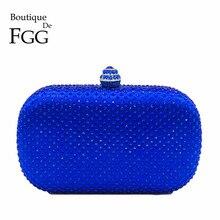 Boutique De FGG Royal Blau Strass Kupplung Frauen Abend Taschen Braut Handtasche Hochzeit Party Kristall Geldbörse Kette Schulter Tasche