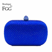 Boutique De FGG Royal Blue Rhinestones Clutch Women Evening Bags Bridal Handbag Wedding Party Crystal Purse Chain Shoulder Bag