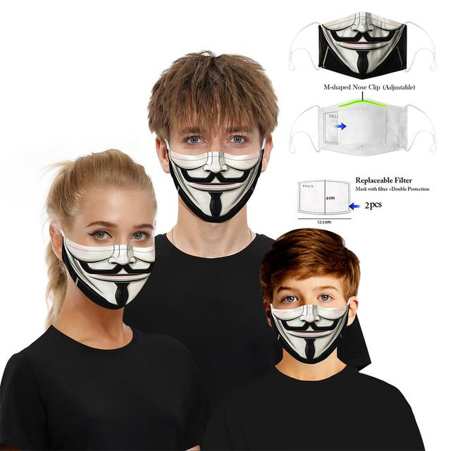 Colorful Pattern Mouth Mask Dustproof Protective PM2.5 Activated carbon Filter Paper Face Mask Washable Reusable Mouth-muffle 1