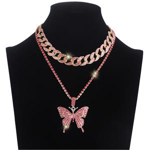 Chain Choker Necklace-Set Jewelry Butterfly-Chains Cuban-Link Hip-Hop-Pendant Iced-Out