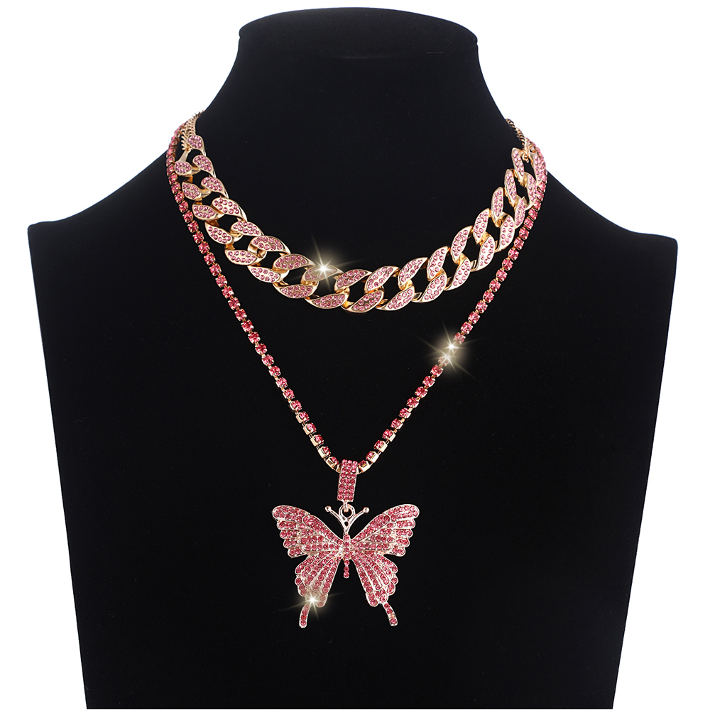 Iced Out Butterfly Necklace Pendant Cuban Link Chain Choker Necklace Women Girls Butterfly Chains Luxury  Bling Hip Hop Jewelry|Choker Necklaces|   - AliExpress