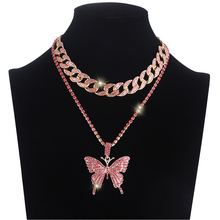 Iced Out Butterfly Necklace Set Cuban Link Chain Choker Necklace Gifts for Women Butterfly Chains Bling Hip Hop Pendant Jewelry