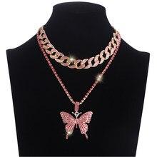 Collier avec pendentif papillon en strass pour femme, raz de cou en chaîne cubaine, bijou tape à l'œil, style hip hop, idée cadeau