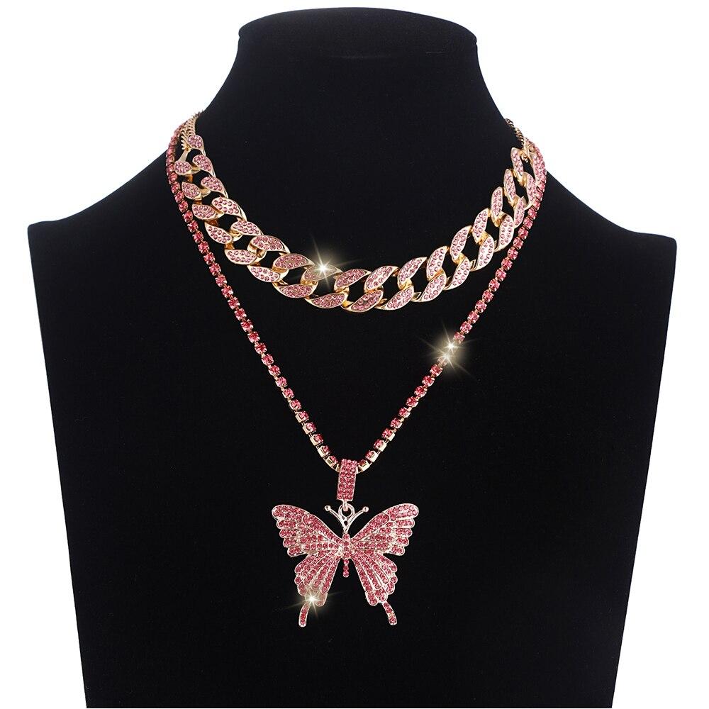 Iced Out-collar de mariposa, conjunto de cadena de eslabones cubanos, Gargantilla, collar para mujeres y niñas, cadenas de mariposa, joyería colgante ostentosa de Hip Hop