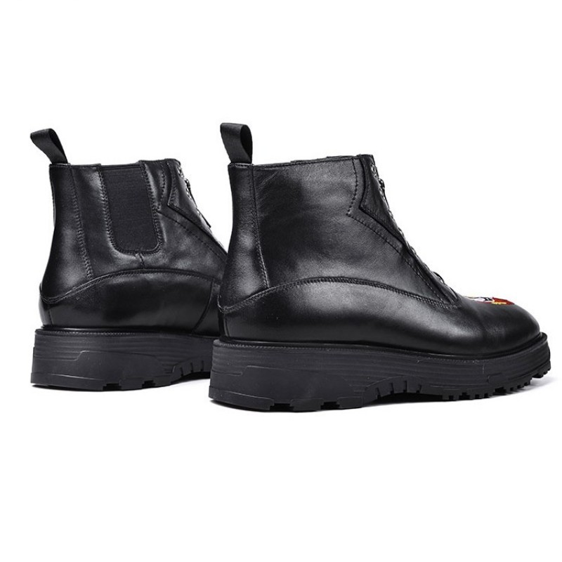 British Fashion Mens Thick Platform Boots Retro Front Zip High Top Boots Designer Height Increasing Embroidery Shoes Men