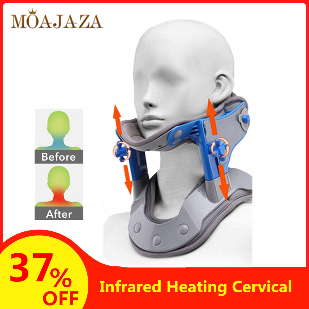 Adjustable Cervical Traction Infrared Heating Orthopedic Neck Spine Stretching Neck Collar Device For Cervical Osteochondrosis(China)