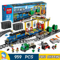 959pcs City Motorized Remote Control Cargo Train Hobby 02008 Model Building Block Boy Brick Power Functions Compatible With Lego