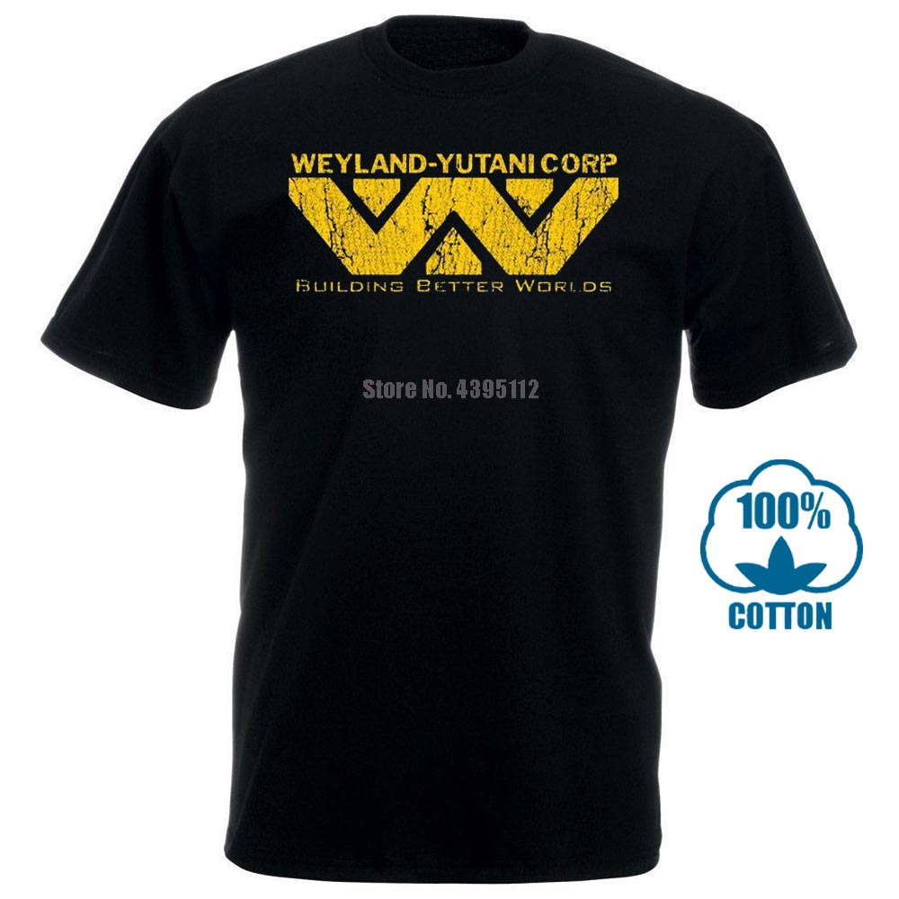 New 100% Cotton  Funny Alien Weyland Yutani Corp T Shirt Building Better Worlds Warrior Corp T Shirt Hipster Tops Tees