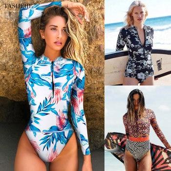 2020 Print Floral One Piece Swimsuit Long Sleeve Swimwear Women Bathing Suit Retro Swimsuit Vintage One-piece Surfing Swim Suits